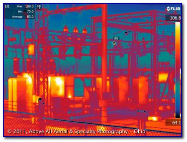 infrared image of an electrical substation