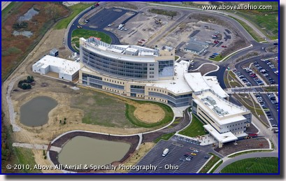 Aerial photograph of University Hospital's new facility - Ahuja Medical Center - in Beachwood, Ohio
