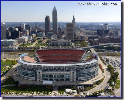 Aerial photo - Cleveland Browns Stadium and Cleveland, Ohio, skyline