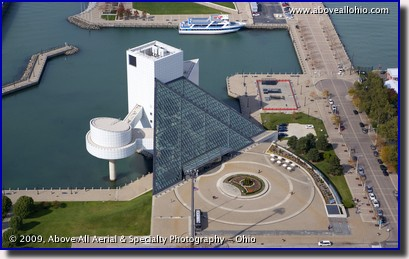 Aerial photograph of the Rock and Roll Hall of Fame in downtown Cleveland, Ohio