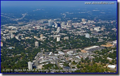 A wide angle aerial view of downtown Columbia, SC.