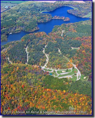 A beautiful fall aerial photograph of Findley State Park, near Wellington, OH.