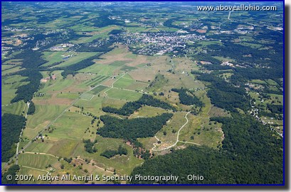 Aerial photograph of the Civil War battlefield near Gettysburg, PA