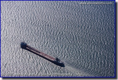 Aerial photograph of a ship on Lake Erie