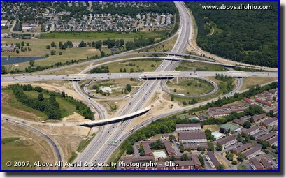 Aerial photo of the new I-71 / I-270 interchange in Columbus, Ohio