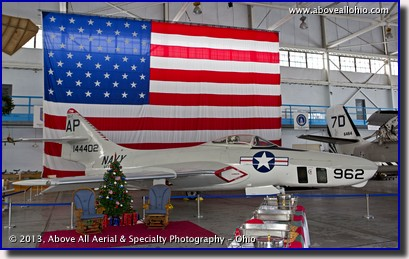 A ground-based photo of a fully restored Grumman F-9F Cougar at the MAPS Museum in North Canton, OH.