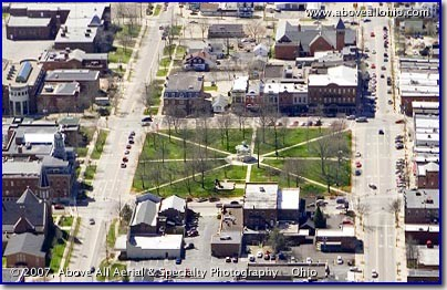 "Aerial photo of ""The Square"" in historic downtown Medina, Ohio"