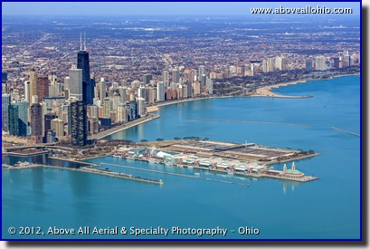 An aerial photo of Navy Pier and part of downtown Chicago, Illinois, including the iconic John Hancock Building.