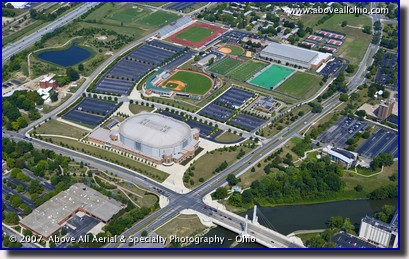 An aerial view of The Ohio State University's Schottenstein Center and other sports facilities in Columbus, Ohio