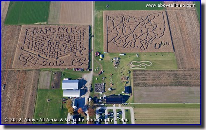 An aerial view of the two corn mazes at Ramseyer Farms near Wooster, OH.