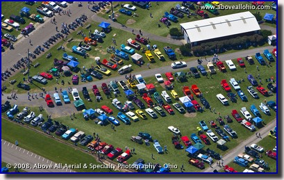 A close-up aerial view of a summer Sunday afternoon car show near Youngstown, OH.