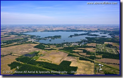 A wide angle aerial photograph of blue skies and thin clouds over Indian Lake State Park, Russells Point, Ohio