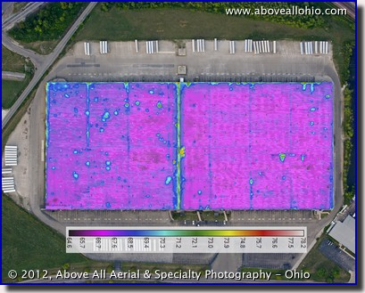 Aerial thermal infrared roof scan image overlaid on a visible light image to map moisture problems; central Ohio