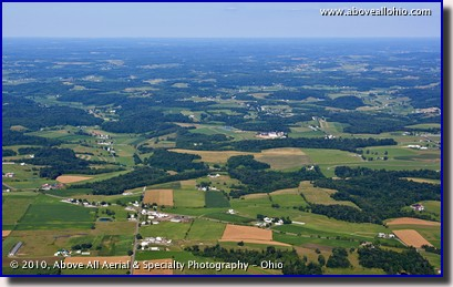 A wide angle aerial landscape photo of the rural Ohio countryside.