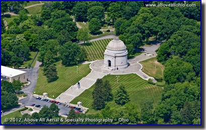 An oblique aerial photo of the McKinley Monument at the William McKinley Presidential Library and Museum in Canton, OH.