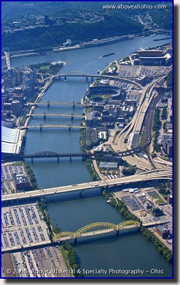 Aerial photo of the many bridges in downtown Pittsburgh, PA, near Heinz Field