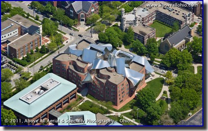 An aerial photo of the Peter B. Lewis Building, Weatherhead School of Management, Case Western Reserve University, Cleveland, Ohio