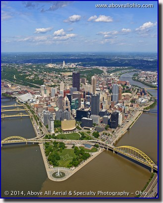 An oblique aerial view of downtown Pittsburgh, PA, looking east.