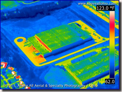 An aerial infrared view of an industrial building near Cleveland, Ohio