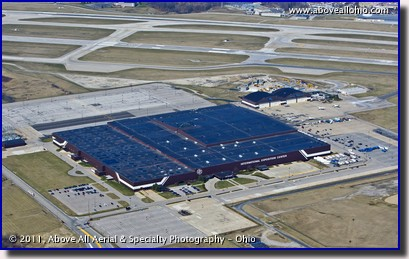 An aerial view of the International Exposition (IX) Center at the Cleveland Hopkins Airport