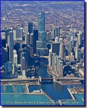 An aerial view of the Chicago River and the Trump International Hotel and Tower, downtown Chicago, IL
