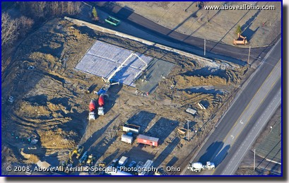 An aerial view of a large concrete pour in progress in Medina, Ohio