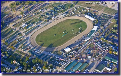 An aerial photo of the Delaware County Fair, home of the Little Brown Jug, Delaware, Ohio