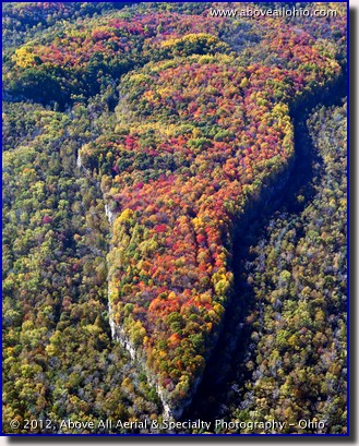 An aerial view of fall colors in the Simco Wetlands Wilderness Area near Coshocton, OH.