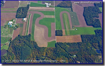 An aerial image of farmland in the early fall in rural OH