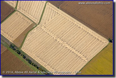 Aerial view of an interesting pattern in a harvested field.