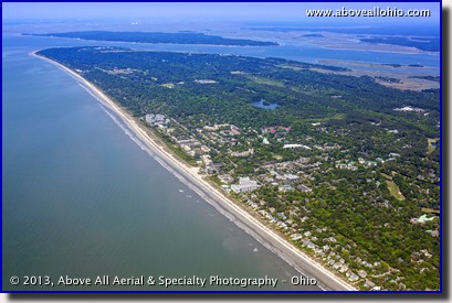 An aerial view of the miles of beach lining Hilton Head Island, SC.