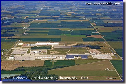 A distant and wide angle aerial view of a major development area near Holiday City, Ohio, just north of the Ohio Turnpike and west of Toledo.