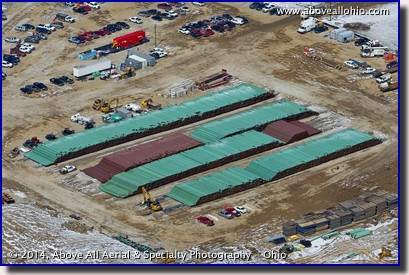An aerial view of a huge stockpile of water line in Willard, OH.