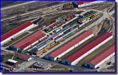 A low oblique aerial photo of the Illinois Railway Museum in Union, Illinois.