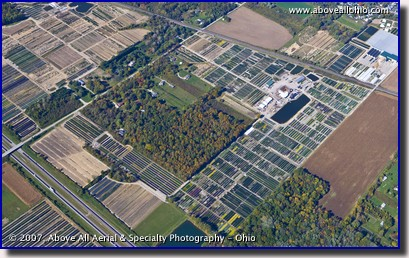 An aerial view of a large plant nursery near Huron, Ohio