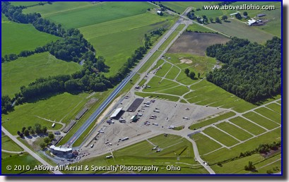 An oblique aerial photo of National Trail Raceway, a drag strip near Columbus, Ohio.