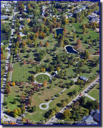 Aerial photograph of the Spring Grove Cemetery, in Medina, Ohio