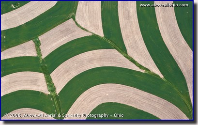 Aerial photo of interesting farmland patterns created by strip farming