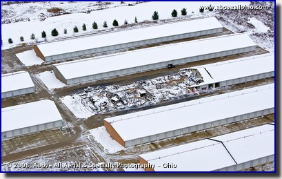 Aerial photograph of fire dameged self storage building