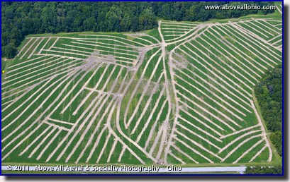 An aerial view of a field which recently had drainage tile installed. Near New London, OH.