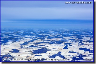 An aerial view of an approaching winter storm front at the end of January, 2014. Near Mansfield, Ohio.