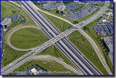 A steep oblique overhead view of the Polaris Parkway and Interstate 71 interchange on the north side of Columbus, OH.