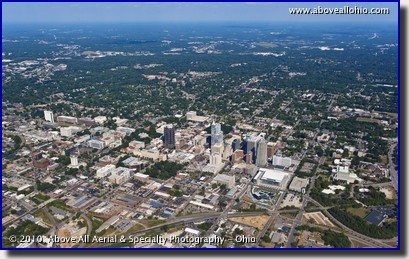 A wide angle aerial photo of Raleigh, NC.