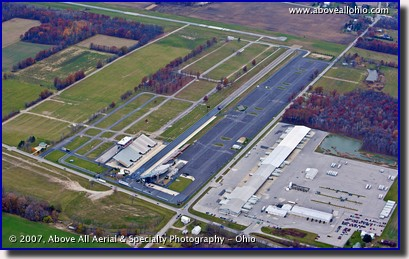 A late fall aerial view of the Summit Motorsports Park in Norwalk, OH.