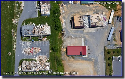 An overhead aerial view of tornado damage near Glade Spring, Virginia