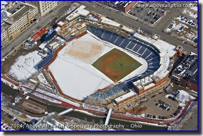 An aerial view of Canal Park, home of the Akron Rubber Ducks minor league baseball team; Akron, Ohio.