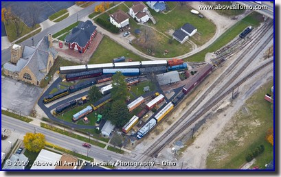 Aerial photo - Madriver and NKP train museum in Bellevue, OH