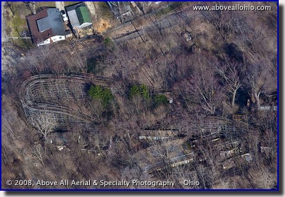 Aerial view of the abandoned Big Dipper roller coaster at Chippewa Lake Amusement Park, Ohio
