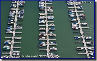 Aerial photo of boats docked at a marina on Lake Erie near Cleveland, OH