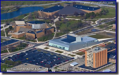 An aerial view of the Wolfe Center for the Arts on the Bowling Green State University campus, Bowling Green, OH